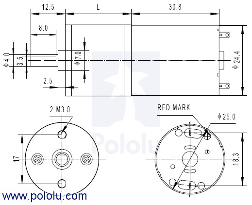 25D 34:1 Motor + gearbox 6v