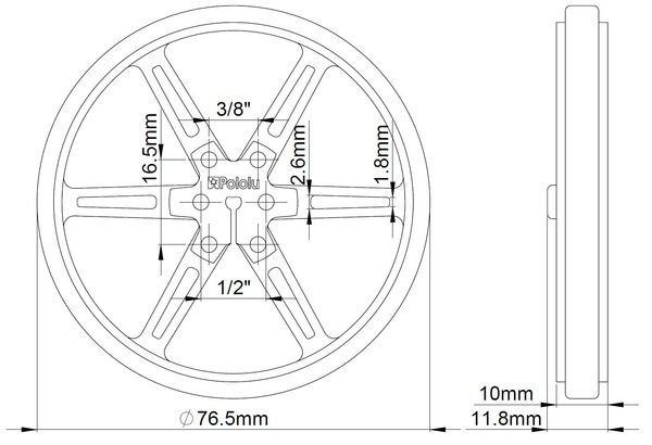80mm x 10 mm Wheel (pair) - White