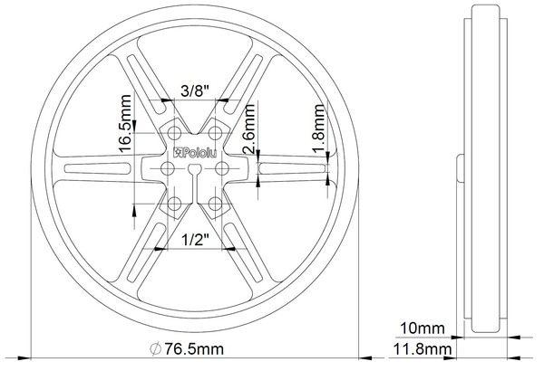 80mm x 10 mm Wheel (pair) - White
