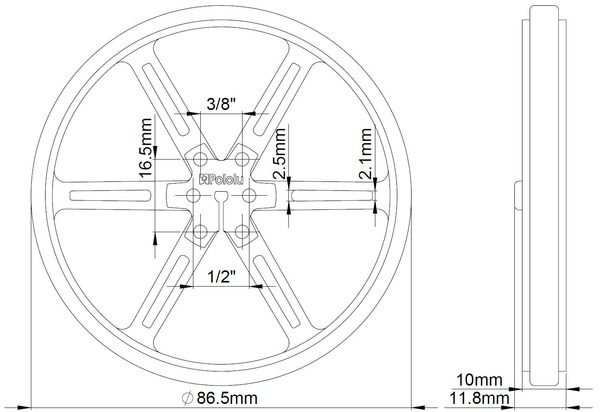 90mm x 10 mm Wheel (pair) - White