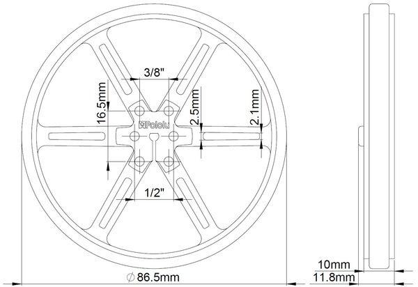 90mm x 10 mm Wheel (pair) - White