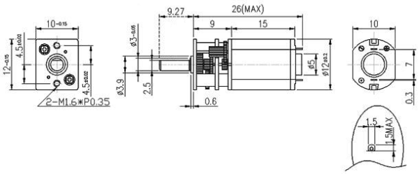 Micro motor and gearbox drawing